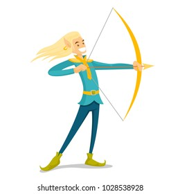 Young elf archer hunting with a bow and an arrow. Full length of blonde elf in fairytale costume holding a bow and an arrow. Vector cartoon illustration isolated on white background. Square layout.