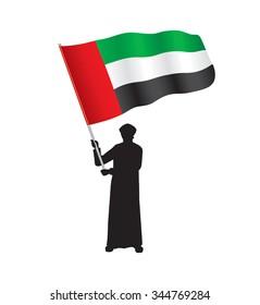 Young Emirati Holding UAE Flag, Vector Illustration