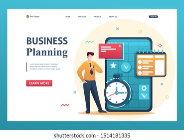 Young entrepreneur plans the time for business, fills the calendar for the month. Flat 2D character. Landing page concepts and web design