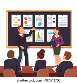Young entrepreneurs presenting new startup project business plan to investors for evaluation looking for investment. Modern flat style vector illustration isolated on white background.