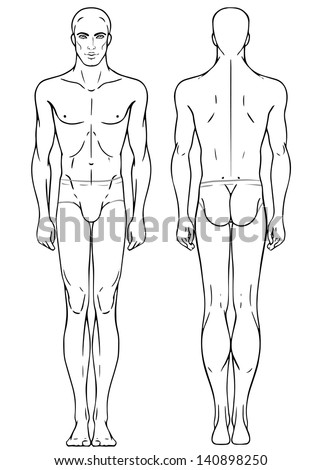 Young European Mans Full Length Standing Body Template Front And Back