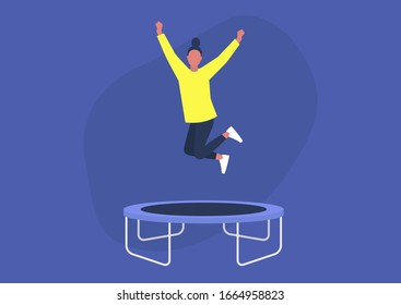 Young excited female character jumping on a trampoline and expressing positive emotions, having fun, good vibe