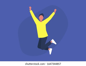 Young excited male character jumping and expressing positive emotions, having fun, good vibe