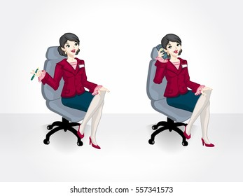 Young executive woman sitting. Business woman sitting.