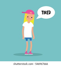 Young exhausted blonde girl. Sad tired character/ flat editable vector illustration