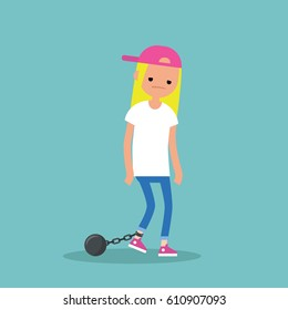 Young exhausted blonde girl wearing shackles. Sad tired character/ flat editable vector illustration
