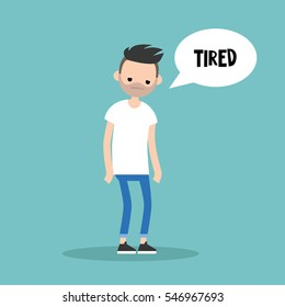 Young exhausted brunette man. Sad tired character/ flat editable vector illustration