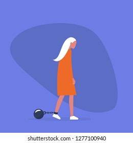 Young exhausted character wearing the shackles. Domestic violence. Obligation. Debt. Concept/ flat editable vector illustration, clip art