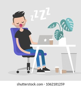 Young exhausted employee sleeping on a workplace. Nap. Office. Flat editable vector illustration, clip art