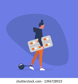 Young exhausted female character wearing shackles and holding a blister of pills. Depression. Antidepressant. Addiction. Modern problems. Mental health / flat editable vector illustration, clip art