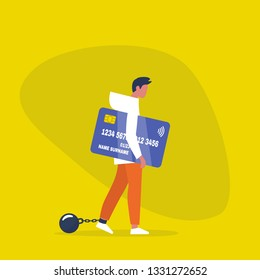 Young exhausted male character wearing the shackles and holding a credit card. Obligation. Debt. Concept/ flat editable vector illustration, clip art