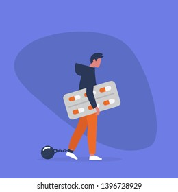Young exhausted male character wearing shackles and holding a blister of pills. Depression. Antidepressant. Addiction. Modern problems. Mental health / flat editable vector illustration, clip art