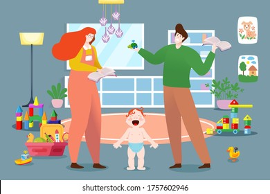 Young family character male female nurse crying baby, husband and wife care infant playground cartoon vector illustration. Cozy interior toy room, place plaything household entertains child.