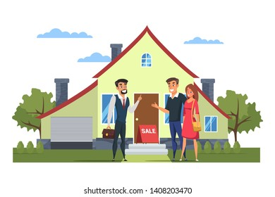 Young family choosing house vector illustration. Realtor, married couple cartoon characters. Husband and wife. Real estate purchase flat drawing. Townhouse for sale. Own property, apartment deal