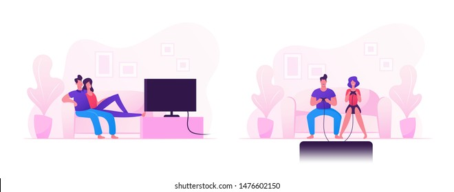 Young Family Couple Sitting on Sofa Playing Computer Games on Gaming Console and Watching Tv Set. Home Leisure Spare Time, Virtual Reality. People Spending Free Time Cartoon Flat Vector Illustration