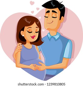 Young Family Expecting First Baby Illustration. Husband hugging his pregnant wife feeling baby kick