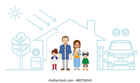 Young family in the Futuristic House -Three Children