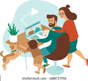 Young family with kids making a distant call to elderly parents on internet during quarantine. Flat concept illustration for coronavirus covid-19 outbreak