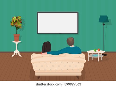 Young family man and women watching TV program together in the living room. Vector illustration.