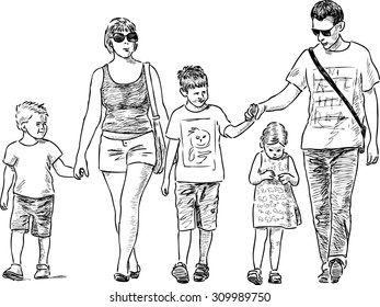 young family on a stroll