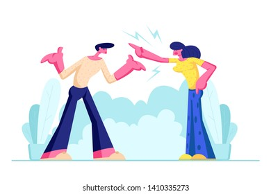 Young Family Quarrel and Swear Outdoors. Aggressive Man and Woman Yell on each other. Scandal between Husband and Wife. Love, Human Relations, Angry People Fighting. Cartoon Flat Vector Illustration