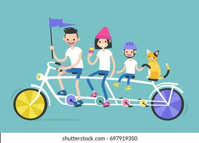 Young family riding a tandem bicycle with four seats. Family vacations. Together. Bright vector illustration, clip art