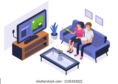 Young family sitting on sofa and watching TV.  Can use for web banner, infographics, hero images. Flat isometric vector illustration isolated on white background.