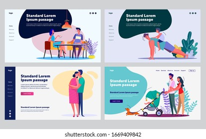 Young family stages collection. Couple dating, expecting baby, walking with stroller. Flat vector illustrations. Leisure, family, activity concept for banner, website design or landing web page