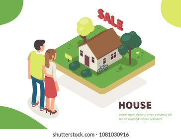 Young family standing near house for sale. Flat isometric vector illustration isolated on white background.