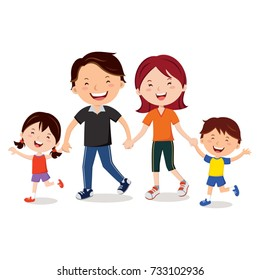 Young family walking together and holding hands