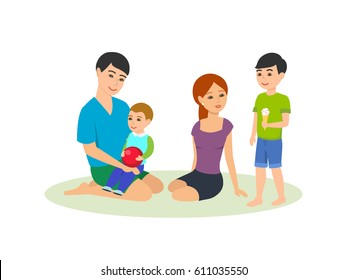 A young family walks with kids outside, fun, play, and eat ice cream and spend time together. Vector illustration isolated in cartoon style.