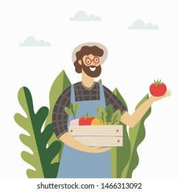 A young farmer at a farmers market sells vegetables. Illustration of a modern style vegan shop.