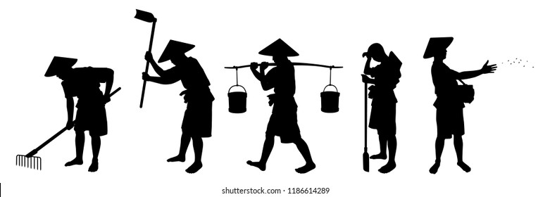Young farmer with hoe silhouette vector. Asia culture isolated on white.
