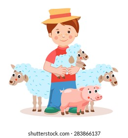 Young farmer with lamb in the hands and farm animals -  pig, sheep. Cartoon vector illustration on a white background. Successful farmer. Farm Animals illustration.