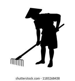 Young farmer with rake silhouette vector. Asia culture isolated on white.