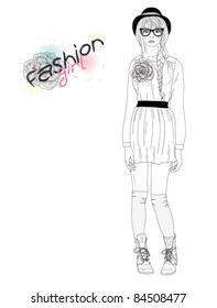 Young fashion girl illustration. Vector illustration. Background with teen female in fashionable clothes.