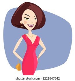 Young Fashion Girl in Red Dress. Vector Illustration.