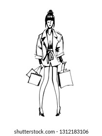 Young Fashion Woman with Shopping Bags. Sketchy Hand Drawn Vector Illustration Isolated on White Background.