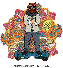 Young fashionable man on GyroScooter. Illustration can be used in advertising and design