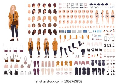 Young fat curvy woman or plus size girl constructor or DIY kit. Set of body parts, facial expressions, clothing, accessories. Female cartoon character. Front, side, back views. Vector illustration.