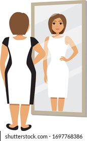 Young fat woman looking in mirror and seeing herself as slimmer and more attractive. Feminine figure correction by dress colours and pattern. Vector illustration.