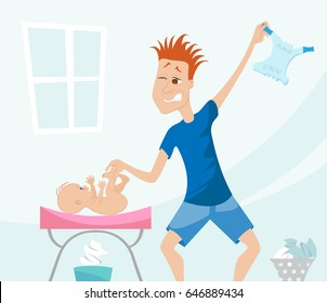 Young father changing baby's diapers. Humoristic illustration of young parent in a new role.