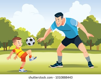 Young father with his little son playing football on football pitch  at the day time. Concept of friendly family. Vector illustration