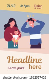 Young father tired of migraine because of crying baby. Mom holding child and dad touching head flat vector illustration. Depression and headache concept for banner, website design or landing web page