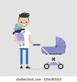 Young father walking with a child. Stroller. Holding a baby. Modern family. Flat editable vector illustration, clip art