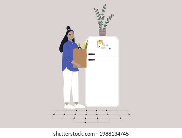A young female Asian character putting groceries into the fridge, daily household chores