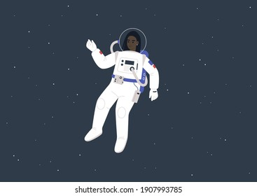 Young female Black astronaut wearing a spacesuit floating between the stars