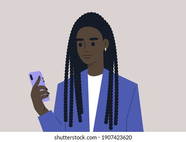 A young female Black character using a mobile phone, millennial daily life
