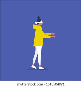 Young female blindfolded character walking in the dark. Side view. Business risks. Lack of information. Flat editable vector illustration, clip art