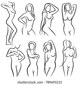 Young female body outline silhouettes vector beauty logos. Woman body beauty sketch, sexy figure nude illustration
